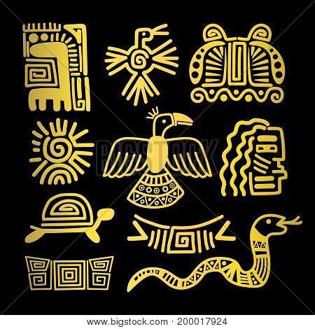 Tribal indian golden symbols on black background vector illustration
