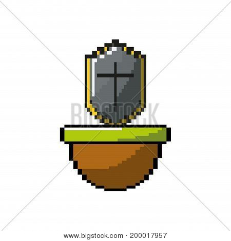 video game shield protection in the platfrom vector illustration