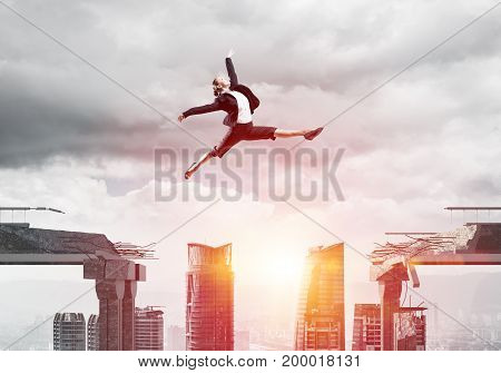 Business woman jumping over gap in concrete bridge as symbol of overcoming challenges. Sunlight and cityscape on background. 3D rendering.