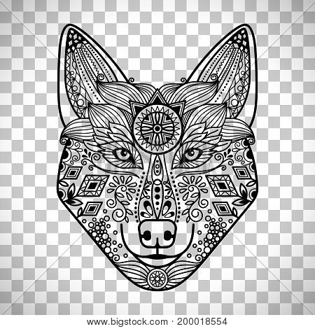 Wolf head with hand drawn guata vector ornament, isolated on transparent background