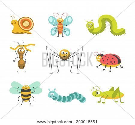 Cute snail, funny butterfly, green and blue caterpillars, ant with small branch, cheerful spider, spotted ladybug, serious bumblebee and vigorous grasshopper isolated cartoon vector illustrations set.