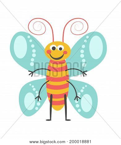 Cheerful butterfly with curled antennae, lot of limbs, pattern on wings and striped body isolated vector illustration on white background. Cartoon animalistic animal with kind facial expression.