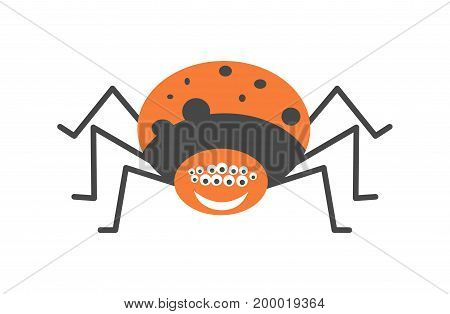 Big spider with many eyes, fat orange body with black spots and friendly smile with white teeth isolated vector illustration on white background. Childish cartoon character from insects world.
