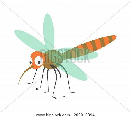 Cute dragonfly with long proboscis, many legs, thin blue transparent wings and striped tail isolated cartoon vector illustration on white background. Funny insect with adorable facial expression.