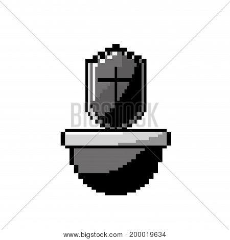 contour video game shield protection in the platfrom vector illustration