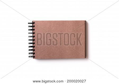 Isolated Sketchbook With Brown Craft Paper