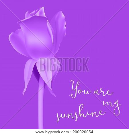 Realistic rose Bud with stem and leaves. Monochrome postcard, close-up the flower Bud of the rose. The symbol of romance and love, a template for a greeting card, 3D illustration.