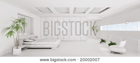 Interior Of White Bedroom Panorama 3D Render