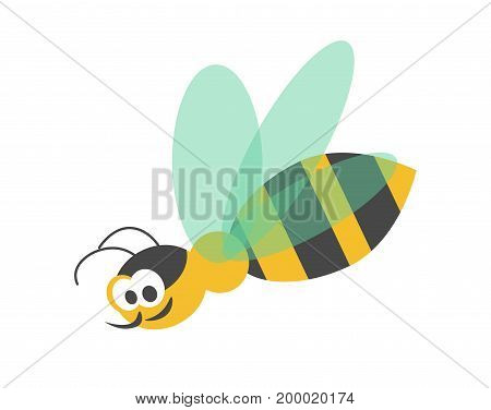 Adorable wasp with striped body, black head, sharp proboscis, big eyes and transparent wings isolated cartoon vector illustration on white background. Friendly character from childish fairytales.