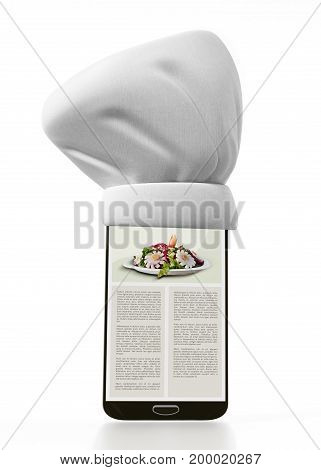 Chef's Hat Standing On Smartphone. 3D Illustration