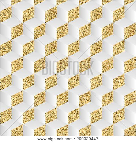 Abstract background with gold dust and shadows. The play of light and shadow, the chess pattern in the isometric. Geometric illusion, 3D illustration.