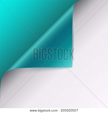 Page curl with shadow on blank sheet of paper. Vector curled corner of white paper with shadow. Close-up isolated on turquoise background. Paper sticker, 3D illustration