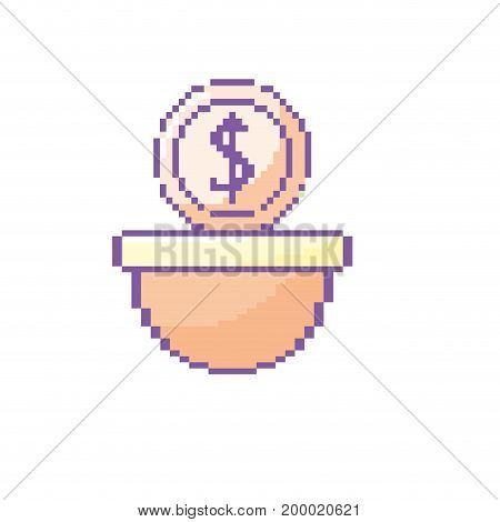 coin digital money in the platform game console vector illustration