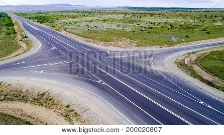 Aerial view of a crossroad in the summer