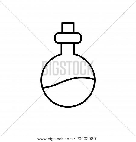 line erlenmeyer flak with chemical potion experiment vector illustration