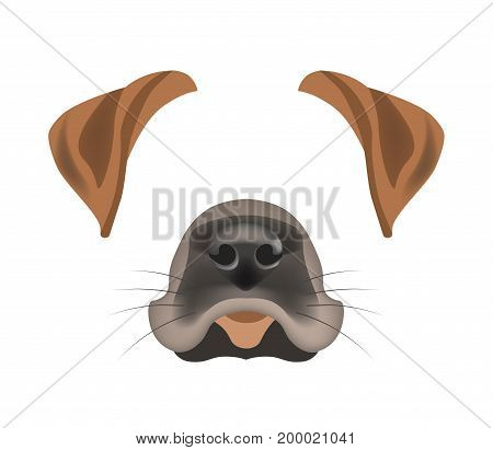 Dog animal face filter template for video chat animated effect or smartphone camera application or cartoon selfie photo mask. Pet animals head ears and nose vector flat isolated icon
