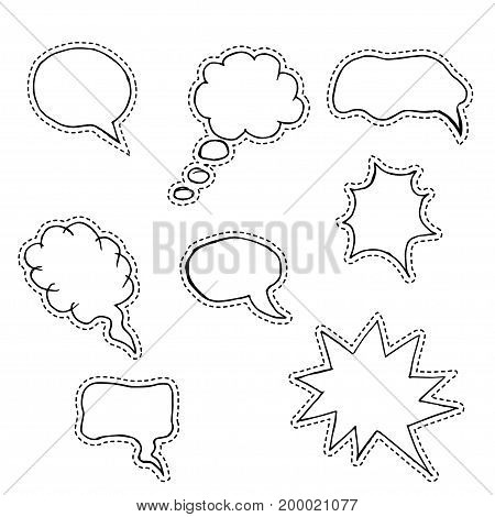 Hand drawn vector sketch speech bubbles set. Clouds of thoughts, isolated, of different round shape. Set of fashion patches, badges, icons, stickers.