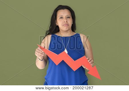 Woman holding going down arrow