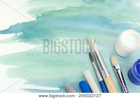 Watercolor Hand Painted Background In Turquoise Green With Painter Tools