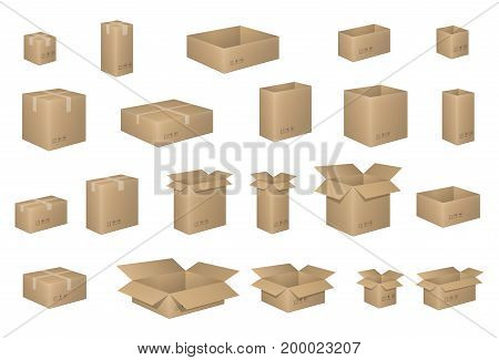 Big Set of isometric cardboard boxes isolated on white. Carton box Organized by layers. Vector illustration EPS 10. Delivery packaging open and closed cardboard with fragile signs.