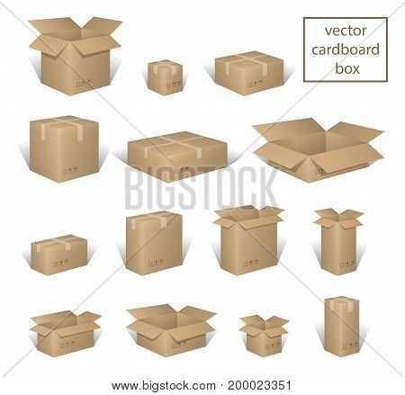 Carton delivery packaging open and closed box, with fragile signs set. Brown box collection, cardboard container isolated on white. vector illustration EPS 10