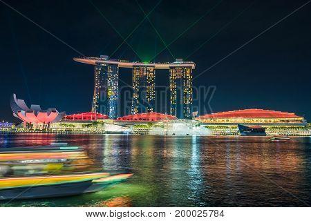 SINGAPORE - October 23 2016 : Light show at Marina Bay Sand. Singapore Marina Bay cityscape.