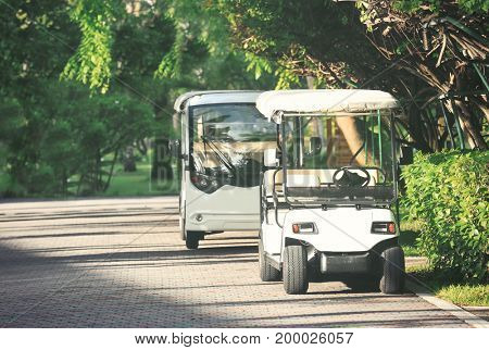 Modern buggies at tropical resort