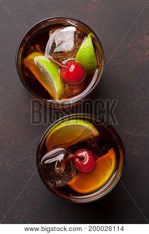 Cuba libre cocktail glasses. Top view