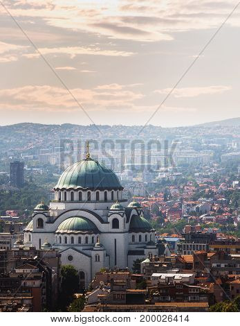 Aerial view of old Belgrade, capital of Serbia with St. Sava temple