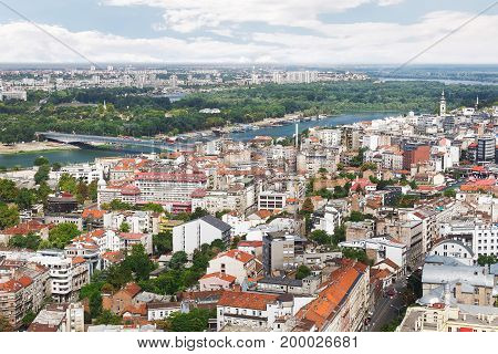 Belgrade downtown skyline  with Sava and Danube river and old Belgrade, view on the New Belgrade town in background, aerial view