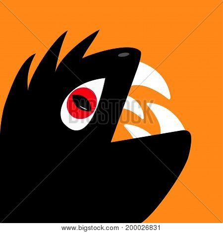 Monster reptile head silhouette with red devil eye big fang tooth. Cute cartoon funny character. Black color. Baby collection. Isolated. Happy Halloween card. Flat design. Orange background. Vector