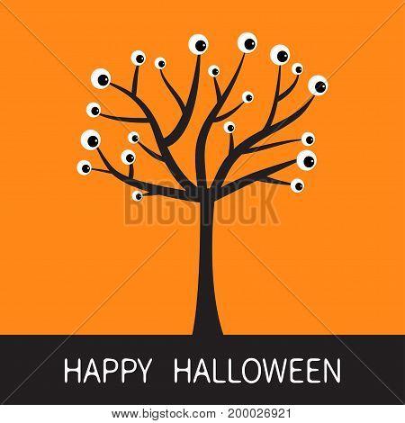 Happy Halloween card. Black tree silhouette with eyes. Plant branch. Cartoon eyeball. Spooky apple of eye set. Baby illustration collection. Flat design. Orange background. Vector illustration