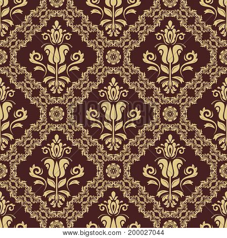 Oriental classic golden pattern. Seamless abstract background with repeating elements. Orient background