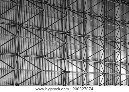 Electric power plant grid metal structure background