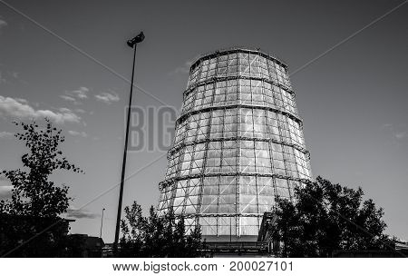 Water cooling tower for the electric power plant black and white