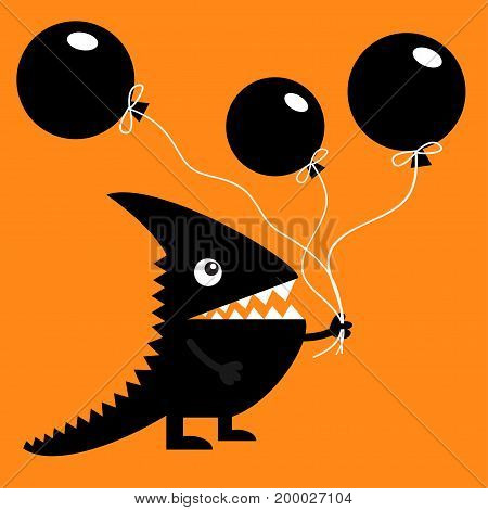 Black silhouette monster with sharp tail horn fang tooth eye. Holding three balloons. Happy Halloween. Cute cartoon funny character. Baby collection Greeting card Flat design. Orange background Vector