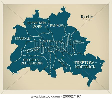 Modern City Map - Berlin City Of Germany With Boroughs And Titles De