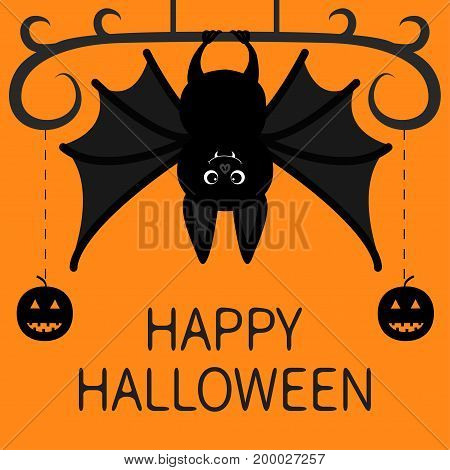 Bat hanging. Dash line pumpkin smile face. Happy Halloween. Cute cartoon character with big wing ears. Black silhouette. Forest animal Flat design Orange background Greeting card. Vector illustration