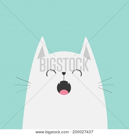 White cat face head silhouette meowing singing song. Cute cartoon funny character. Kawaii animal. Baby card. Pet collection. Flat design style. Blue background. Isolated. Vector illustration