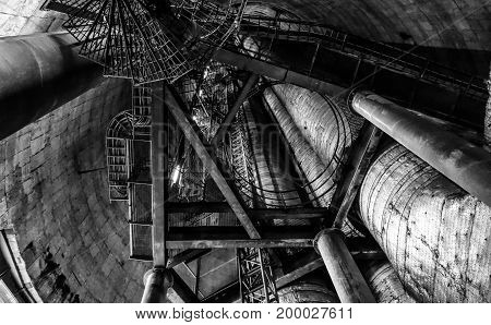 Industrial power plant view with stiars black and white