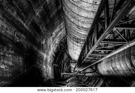 Power plant interior view with stairs black and white