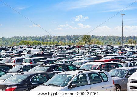 Lots of cars parking at airport carpark