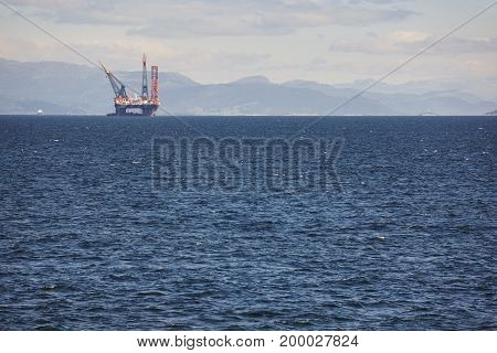 Oil and gas sea platform in Norway. Energy industry. Petroleum exploration