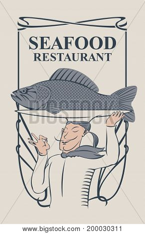 Vector menu for seafood restaurant with the smiling chef with the fish on the tray and a tray on his head in retro style