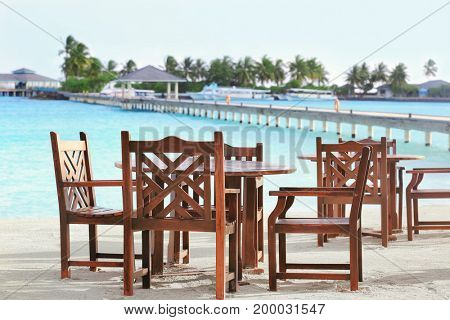 Territory of beach cafe at tropical resort