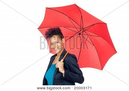 African Girl With A Umbrella