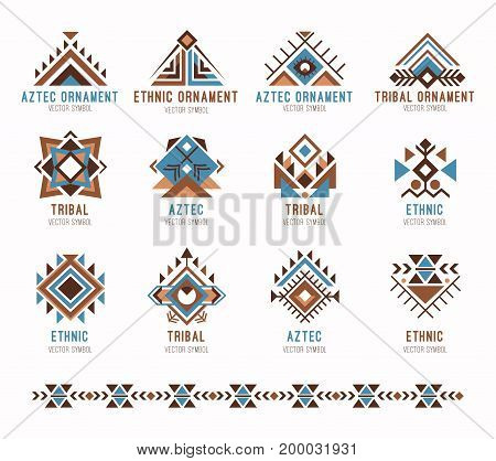 Aztec tribal ethnic ornaments set. Collection of ethnic ornaments for designers and illustrators. Indian ancient pattern vector illustration