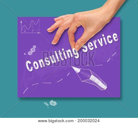 A Hand Picking Up A Consulting Service Concept On A Colorful Drawing Board.