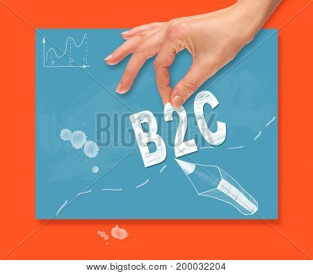 A Hand Picking Up A Business To Customer Concept On A Colorful Drawing Board.