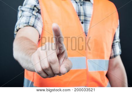 Close-up Of Constructor Using Invisible Touch Screen